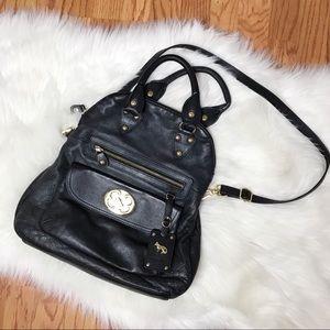 EMMA FOX Black Leather Crossbody Satchel Handbag!